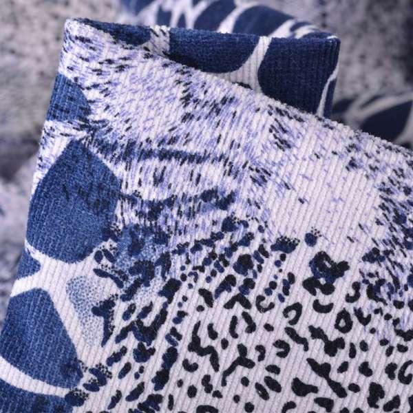 Вельвет стрейч синий с рисунком камешки, ш.140 оптом