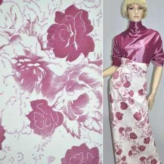 Вельвет стрейч білий з рожевими трояндами, ш.140 оптом