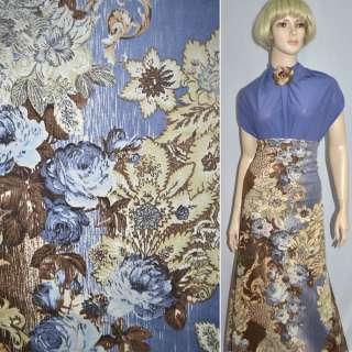 Вельвет стрейч коричнево-блакитний з квітами, ш.140 оптом