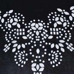 Бархат на шифоне черный с цветами по центру ш.110 оптом
