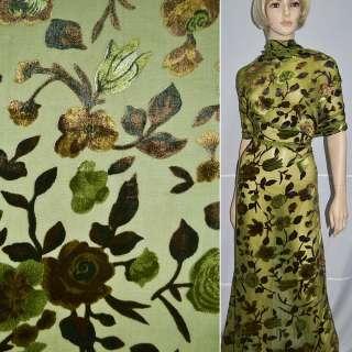 Бархат на шифоне зеленый в коричневые цветы ш.110 оптом