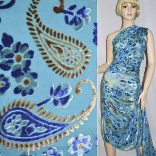 Бархат на шифоне с бежево-синими цветами и огурцами ш.110 оптом