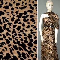Бархат на шифоне бежевый, бежево-чёрный леопард ш.110