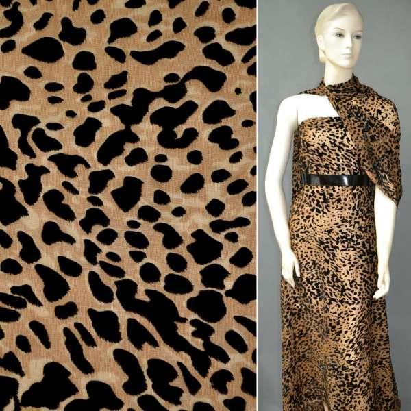 Бархат на шифоне бежевый, бежево-чёрный леопард ш.110 оптом