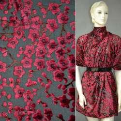 Бархат на шифоне чёрный в красные цветы ш.110