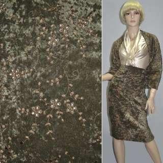 Мікровелюр стрейч болотний з коричневою вишивкою, ш.150 оптом