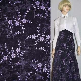 Микровелюр стрейч фиолетовый темный с сиреневой вышивкой, ш.150 оптом