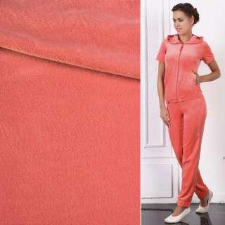 Велюр стрейч спорт персиково-розовый ш.170 оптом