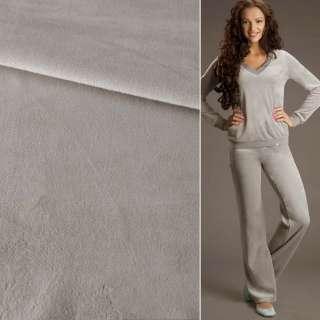 Велюр стрейч спорт серый светлый ш.190 оптом
