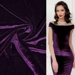 Велюр стрейч темно-фиолетовый ш.165