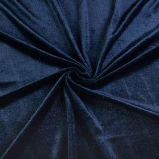 Велюр стрейч синий темный, ш.170 оптом