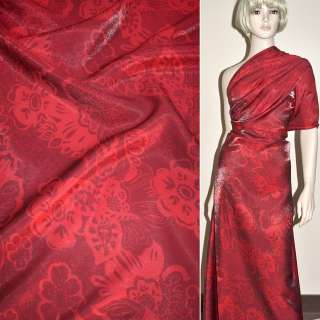Вискоза костюмная с органзой красная в цветы, ш.150 оптом