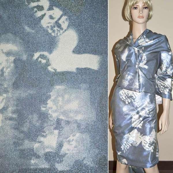 Вискоза костюмная с органзой сине-серая, ш.150 оптом
