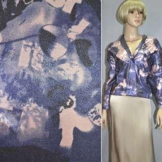 Вискоза костюмная с органзой розово-голубая, ш.150 оптом