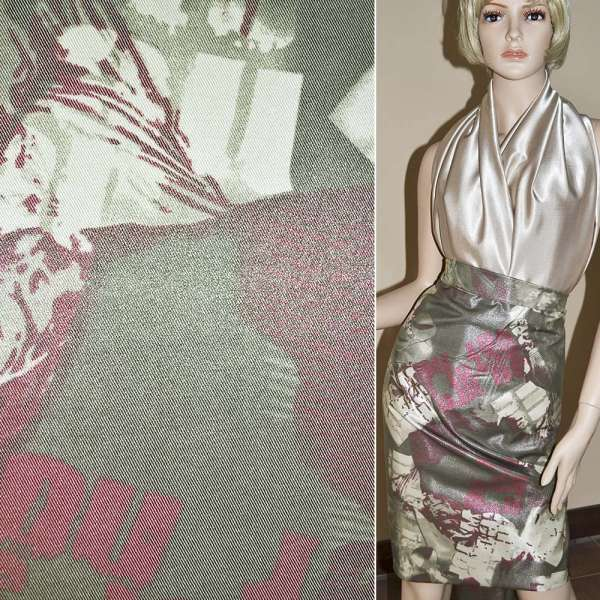 Вискоза костюмная с органзой оливково-бежевая, ш.150 оптом