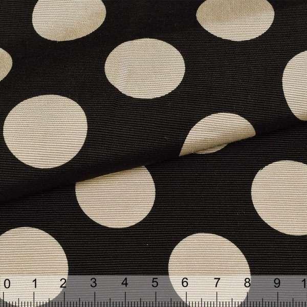 Репс вискозный черный в бежевые круги, ш.150 оптом