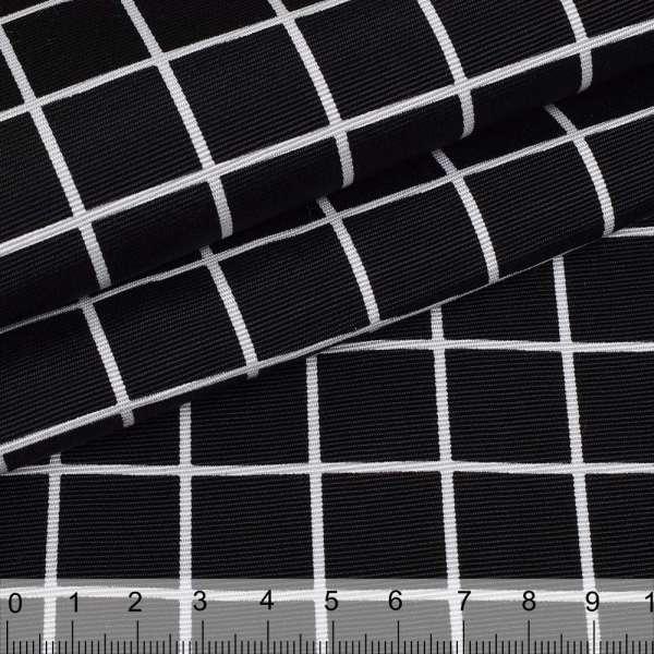 Репс вискозный черный в белые квадраты (2см) ш.150 оптом