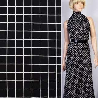 Репс віскозний чорний в білі квадрати (2см) ш.150 оптом