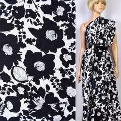 Репс вискозный белый в черные цветы ш.147 оптом
