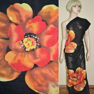 Віскоза чорна в помаранчеві квіти ш.140 оптом