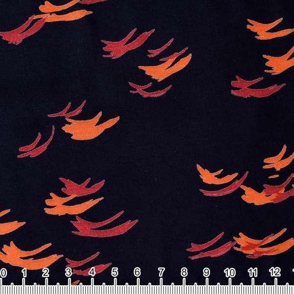 Вискоза темно-синяя в оранжевые росчерки ш.140 оптом