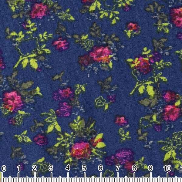 Вискоза синяя в розово-зеленые букеты ш.142 оптом