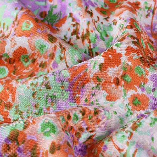Вискоза молочная в оранжево-фиолетово-лаймовые цветы ш.140 оптом