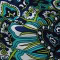 Вискоза платки (70*70) молочно-бирюзовые с синей каймой ш.140 оптом