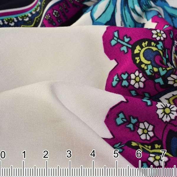 Вискоза платки (70*70) молочные с пурпурно-черной каймой ш.140 оптом