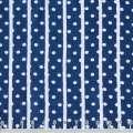 Вискоза синяя в белые горошек и полосу ш.140 оптом
