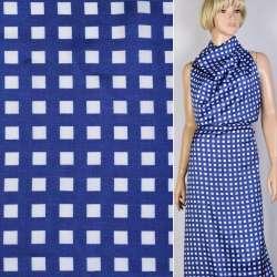 Вискоза атласная саржевая синяя в белые квадраты 1см ш.147 оптом