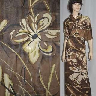 вискоза коричневая темная в цветы (купон) ш.148 оптом