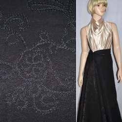 Вискоза костюмная черная с вышивкой, ш.150