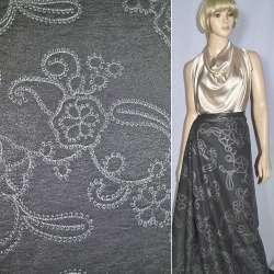 Вискоза костюмная темно-серая с вышивкой, ш.150