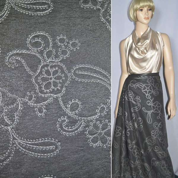Вискоза костюмная темно-серая с вышивкой, ш.150 оптом