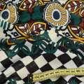Жаккард стрейч черно-белая клетка, коричнево-желтый орнамент, ш.150 оптом