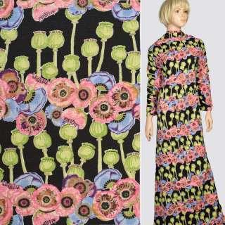 Ткань костюмная стрейч черная в розовые маки, зеленые бутоны, ш.150 оптом