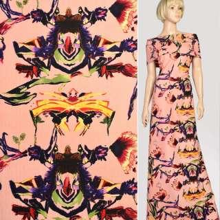 Ткань костюмная стрейч коралловая в желто-фиолетовую абстракцию, ш.150 оптом