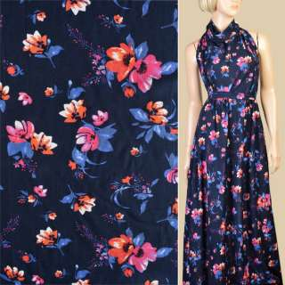 Вискоза синяя темная в розово-оранжевые цветы, синие листья, ш.140 оптом