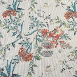Вискоза белая в бежевую полоску, оранжевые цветы, ш.140