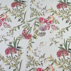 Вискоза белая в серую полоску, оранжевые цветы, ш.140