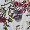 Вискоза белая в серую полоску, бордовые цветы, ш.140 оптом