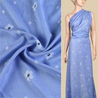 Вискоза голубая в белую полоску, принт вышивка крестиком, ш.145 оптом