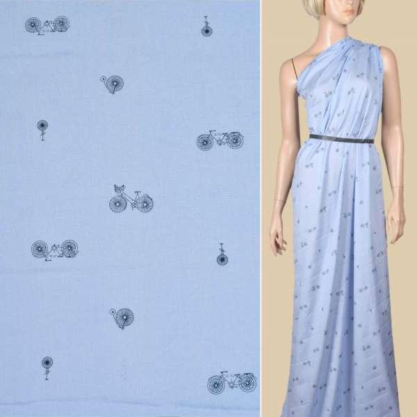 Вискоза голубая, синие велосипеды, ш.145 оптом
