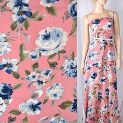 Вискоза розовая темная в сине-голубые цветы, ш.140
