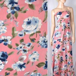 Вискоза розовая темная в сине-голубые цветы, ш.140 оптом