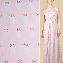 Вискоза розовая светлая, белые кошки, ш.140
