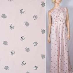 Вискоза розовая, серый Тоторо, ш.140
