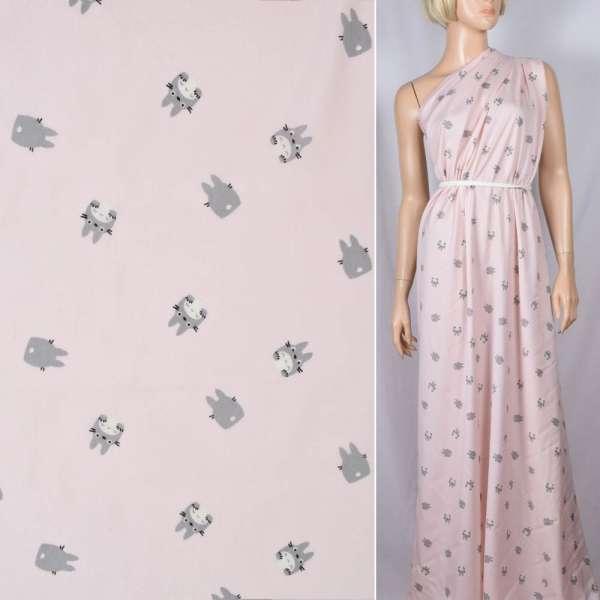 Вискоза розовая, серый Тоторо, ш.140 оптом