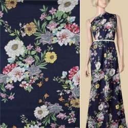 Вискоза синяя, розовые, сиреневые белые цветы, ш.145